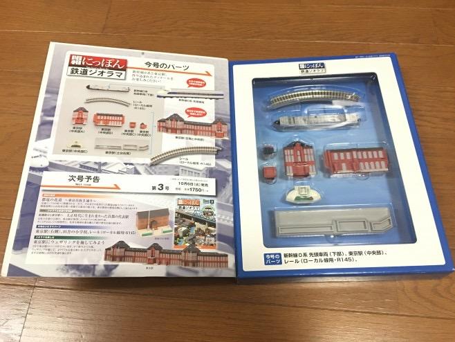 読み物とレイアウトのパーツが入っています。創刊号は東京駅と新幹線のパーツがついて899円!(言ってみたかったのです(笑))