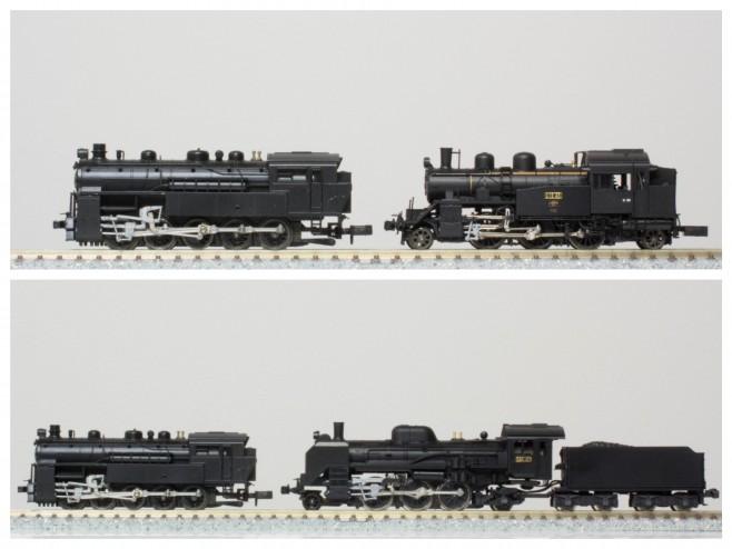 4110とC12の比較です(写真上)、同じタンク型の小型機ですが、そのデザインが大きく異なることがわかります。4110とテンダー機のC58の比較です(写真下)、4110がかなりコンパクトなことがわかるでしょう。