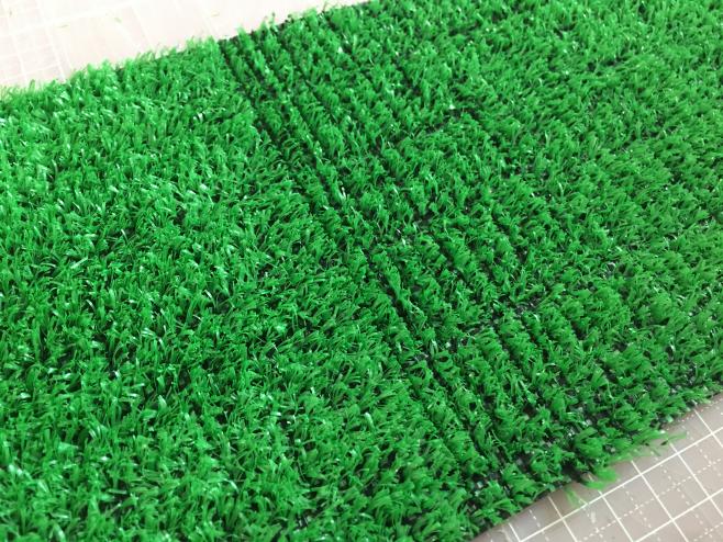 右半分が田んぼです。そして左半分はなにもしていない「人工芝」です。いかがでしょうか!