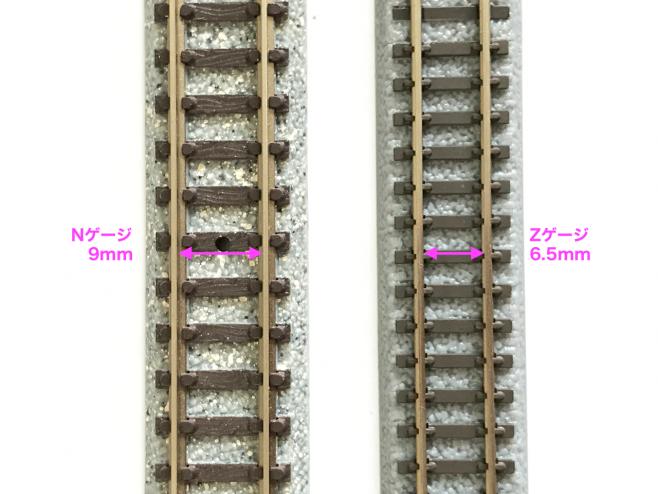 Nゲージは軌間9mmのレールを使い、Zゲージでは軌間6.5mmです。どちらもスケール換算では標準軌です。